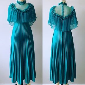 Vintage Late 70's Prairie Turquoise Maxi Dress